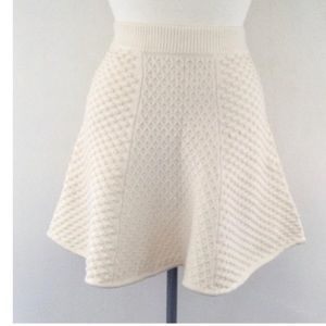 TORN BY RONNY KOBO Cream Flare Knit Skirt Size S